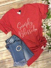Just Simply Blessed Graphic Tee In Heather Red - Sizes 4-20