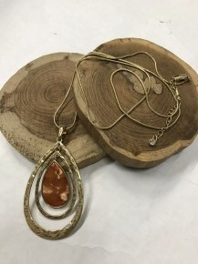 Simply Simplistic Gold Teardrop Necklace With Marbled Pendant