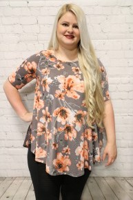 Never Say Goodbye Floral Top In Gray- Sizes 12-20