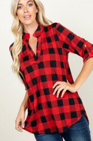 Everyone's Talking Red Buffalo Check Rolled Quarter Sleeve Top-Sizes 4-20