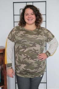 Flirting With Fantastic Color Block Camo Print Sweatshirt In Mustard - Sizes 12-20