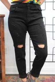 The Layci Distressed Jeans In Black - Sizes 12-20