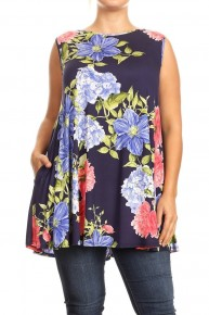 Feeling Romantic Floral Tank Tunic/Dress in Navy - Sizes 12-20