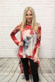 Classy Yet Crazy Mix Print Long Sleeve Hi-Lo Top In Red - Sizes 4-10