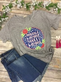 America Home Sweet Home Graphic Tee In Heather Gray Sizes 10-20