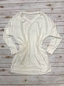 I'll be There Ivory Long Sleeve V-Neck Sweater with Side Slits Sizes 12-20