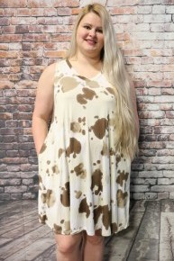 Just Enough Cow Print V Neck Tank Dress- Sizes 12-20