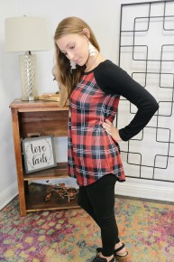 Through it All  Plaid Shirt with Black Accent Sleeves Sizes 4-20