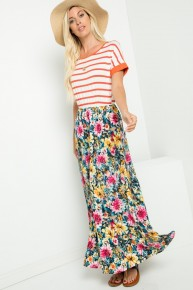 Believe It Or Not Striped & Floral Maxi Dress - Sizes 12-20