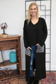 Have At It Duster With Leopard Pocket Accents In Black  - Sizes 4-20