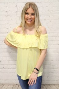 Just Waiting Yellow Off The Shoulder Spaghetti Strap Tank- Sizes 4-12