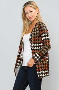 Bring it Back Black and Mocha Waterfall Houndstooth Cardigan Sizes 12-20