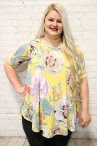 Love You Forever Floral Top In Yellow- Sizes 12-20