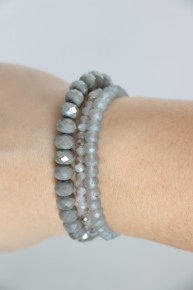 Charm It Up Three Strand Beaded Bracelet In Shades of Gray
