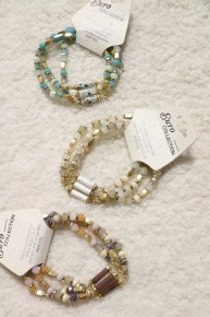 Dance The Night Away Crystal Bead And Natural Stone Stretch Bracelet In Multiple Colors