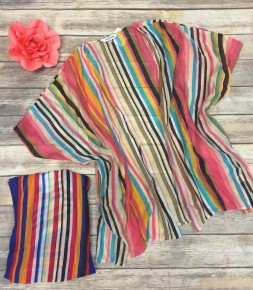 Bursting With Bold Striped Kimono In Multiple Colors-Sizes 12-20