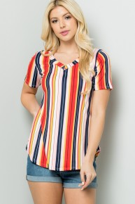 Perfect To You Striped Top in Red - Sizes 12-20