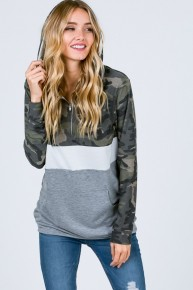 Keep On Standing Camo Color Block Hooded Pullover-Sizes 4-20
