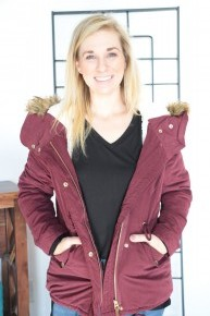 Warmest Jacket Ever With Faux Fur Lining On Hood In Wine - Sizes 4-10