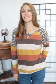 You Give Love Striped Contrast Top With Leopard Sleeve In Mustard - Sizes 4-12