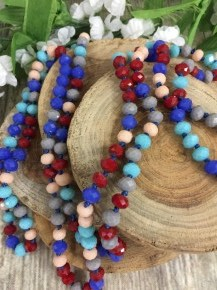 Point Of Perfection Beaded Necklace in Patriotic