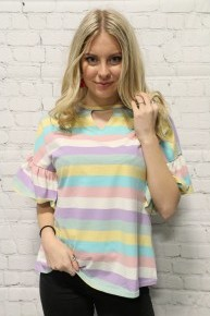 Springtime Colors Striped Top with Ruffle Sleeves - Sizes 4-20
