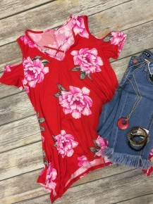 It Will All Come Together Floral Cold Shoulder Top With Criss-Cross Neck In Red- Sizes 4-10