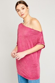 Get To Work Off The Shoulder Top In Magenta Sizes 4-10