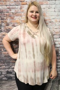 So Much Fun Tie Dye Top With Criss-Cross Neck In Mauve- Sizes 4-20