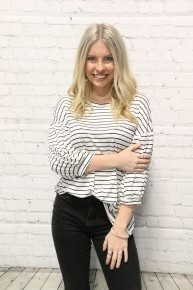 Goal Driven Bubble Sleeve White and Navy Striped Top-Sizes-4-20