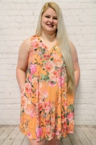 Summer Days Floral Tank Dress In Tangerine- Sizes 12-20