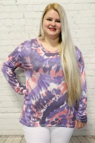 Feeling Great Tie Dye Long Sleeve Top In Pink & Purple - Sizes 6-20