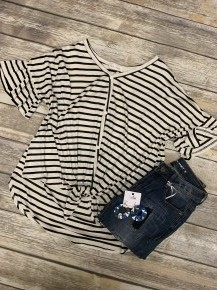Give It Your All Striped Top With Tie Front - Sizes 4-10-Multiple Colors