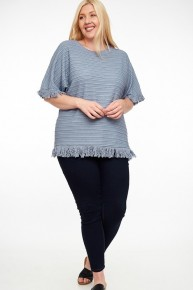 By My Heart Knit Top With Fringe In Multiple Colors- Sizes 12-20