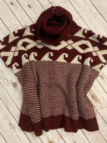 Out Of Habit Mix Print Knit Poncho In Burgundy - One Size 4-12