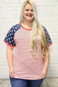 American Sweetheart Short Sleeve Flag Themed Raglan-Sizes 4-20