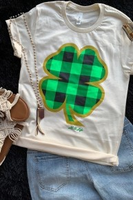 Oh So Cute Plaid Shamrock Graphic Tee - Sizes 4-20