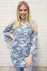 Other Hand Cold Shoulder Top With Ruffle Sleeve In Multiple Prints- Sizes 4-18