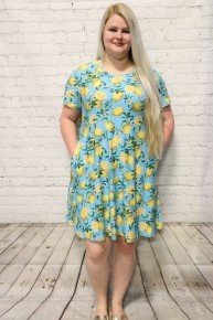 Sour & Sweet Lemon Dress In Aqua- Sizes 12-20