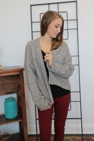 I Support You Marbled Gray Cardigan Sizes 4-10