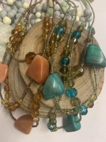 Down The River Rock & Beaded Multi Strand Necklace - Multiple Colors