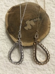 All of the Above Scalloped Tear Drop Dainty Chain Necklace in Multiple Colors