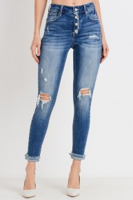 The Wendy Medium Denim Distressed Button Up Jeans- Sizes 4-20