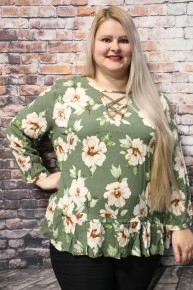 In My Garden Cross Cross Neck Floral Top With Ruffle Hem In Multiple Colors- Sizes 12-20
