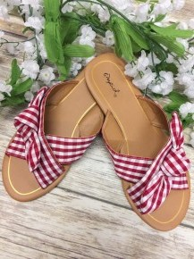 Picnic At The Beach Strappy Sandals With A Bow - Red