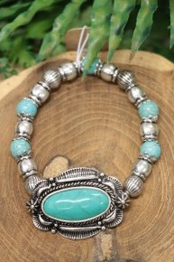 All Day Long Beaded Bracelet With Turquoise Pendant