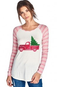 Little Red Truck Christmas Shirt with Candy Cane Sleeves Sizes 4-10