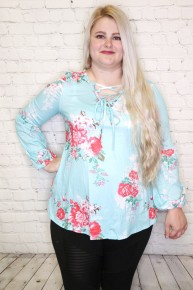 Meet Me There Floral Criss Cross Top In Mint Sizes 4-18