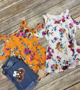 Sweet Endings Cold Shoulder Top With Knotted Hem - Multiple Colors- Sizes 4-10