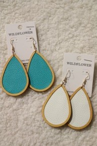 The Slasher Teardrop Earrings with Wood Frame ~ Multiple Colors